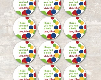 PRINT & SHIP Bouncy Ball Birthday Party Goodie Bag Gift Tags (set of 12) >> personalized and shipped to you << Paper and Cake