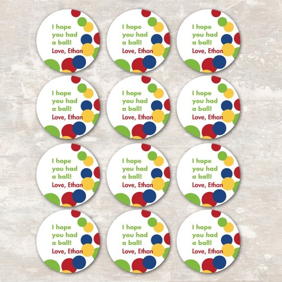 PRINT & SHIP Bouncy Ball Birthday Party Goodie Bag Gift Tags