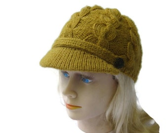 Newsboy Hat, Brim Peak or Visor, Mustard Yellow Gold Acrilic Blend Worsted Wt. yarn, Cables, 2 Buttons, Ready To Ship