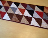 Quilted Table Runner In Darker Colors - Earth Tones Table Runner - Half Square Triangles