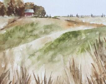 Original painting farm original landscape painting original watercolor painting original farm painting barn west country decor for him 8x10