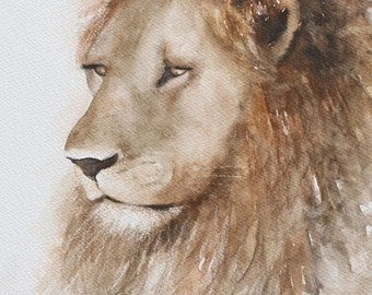 Original lion painting lion ORIGINAL painting of lion original painting original watercolor painting african home decor room decor wall 8x10