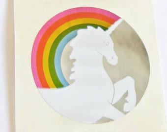 Vintage 80s Hambly Studios Foil Unicorn Rainbow Sticker Mod