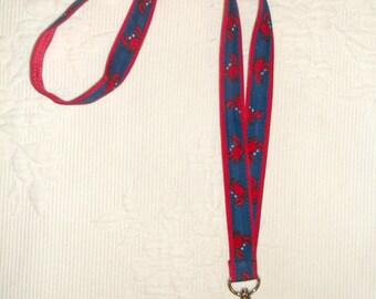 Preppy Nautical Red Blue Crabs Ribbon Lanyard