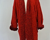 Vintage Chunky Knit Red Long Cardigan L/XL