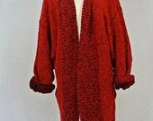 Vintage Chunky Knit Red Long Cardigan L/XL