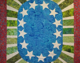 Garden Star Wall Hanging Art Quilt