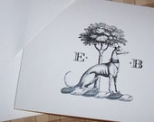 Greyhound ,Whippet, Italian Greyhound Dog Personalized Monogrammed Note Cards Stationery Stationary Set Black Ivory Set of 10 Sighthound