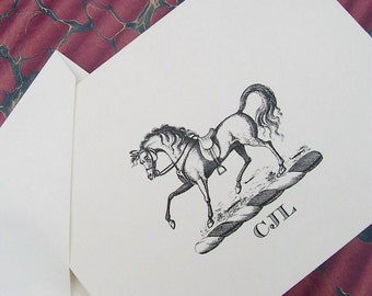 Horse Personalized Note Cards Equestrian Stationery Vintage Inspired Notecards set 10 Monogrammed English Saddle White Horse Monogram Cards