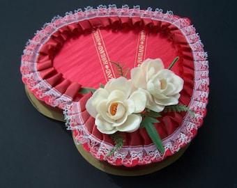 Vintage Box Assembled Art Supply 1986 Red Haviland Borden 1986 Valentine Chocolate Heart Shaped Box