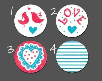 """108+ PRINTED Chocolate Kiss 3/4"""" Stickers ~ Love theme ~ Choose from 4 designs"""