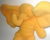 Bright Yellow Seated Baby Elephant  Stuffed Animal Washable Soft Plush Baby El Travel Toy Nursery Handcrafted Plushie