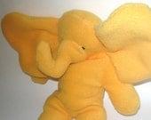 Bright Yellow Orange Seated Baby Elephant  Stuffed Animal Washable Soft Plush Baby El Travel Toy Nursery Handcrafted Plushie