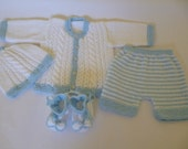Knitted Newborn Clothing. Baby Boy  Ensemble. Coming Home  Outfit. Newborn Suit Set 0 to 3 Months Antiallergic Yarn