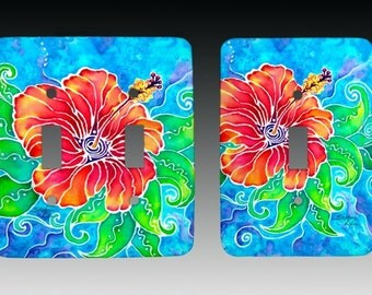 Tropical Hibiscus, Switch plate, Lightswitch Cover, Lightswitch Plate