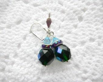Czech and Swarovski Crystals, Kelly Green Earrings, Aurora Borealis, , Leverback Earrings, Light Blue Swarovski Crystals