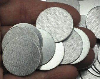 """20 1"""" Aluminum Stamping Blanks No Hole Reversible No Hole 18 Gauge 1mm Brushed Aluminum Discs Tags 1 inch Lightweight No Holes"""