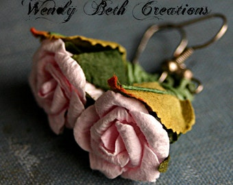 Blush Pink Paper Rose Earrings - Elegant, Boho, Romantic, Wedding
