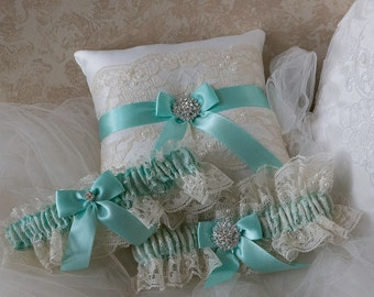 Wedding Ring Pillow With Garter Set Aqua Blue  And Ivory Chantilly Lace