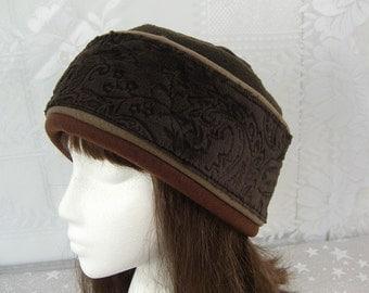 Adult Minky Fleece Brown PILLBOX Hat, Women's Fleece Hat, Women's Pillbox Hat
