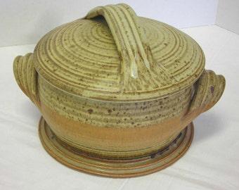 American Studio Ceramic Hand Thrown Covered Casserole Vintage Signed Chandler Worth Stoneware
