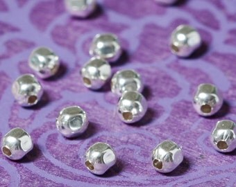 Sterling Silver Beads Faceted Square  3mm - Select Pack Size
