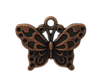 Butterfly Charm - Set of  5- Antique Copper - #HK1071