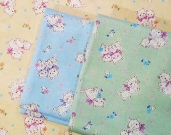 Japanese Fabric - Sweet Kittens Fabric - Half Yard - Kokka Fabric From Japan LIMITED YARDAGE