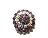 Small Round Purple Rhinestone Brooch Gold Tone Braoch Wedding Bridal Formal Pin