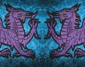 Welsh Flag Purple Dragon Heraldic Heraldry  Iron on Patch Pair