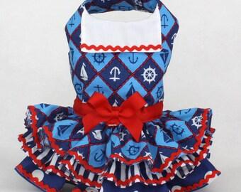 Dog Dress, harness dog dress, Patriotic dog dress, July 4 dog dress, Anchor Print