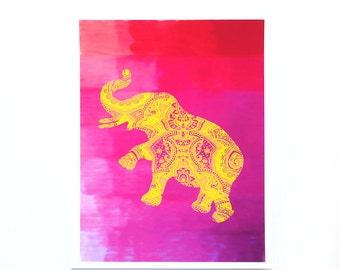 Bohemian Elephant Print / Hot Pink Elephant Art / Yellow Gold Elephant / home decor / wall hanging