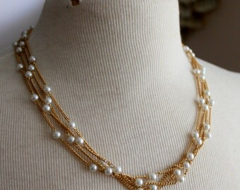 Vintage Necklace Multi Strand Pearl Gold Tone