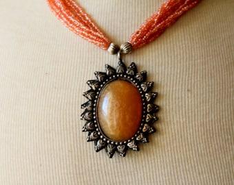 Vintage Necklace STATEMENT Pink Boho Artsy Chunky