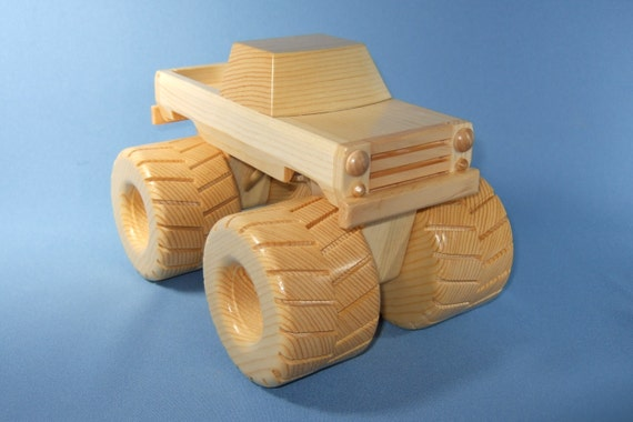 Wooden Toy Monster Trucks Handcrafted Wooden Toy Monster
