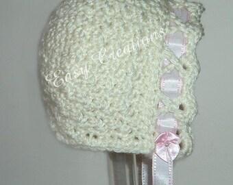 CROCHET PATTERN Crisscross Bonnet baby girl girls ribbon hat tie 0 to 12 mo skill level intermediate
