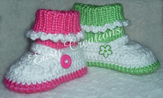 CROCHET & KNIT PATTERN Mary Jane Shoes booties slippers attached socks baby babies girl girls star stitch 0 to 9 mo skill level intermediate