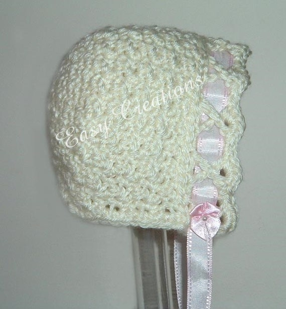 CROCHET PATTERN Crisscross Bonnet baby girl girls ribbon hat