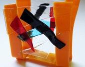 Opaque orange glass Napkin or Mail Holder - IN STOCK
