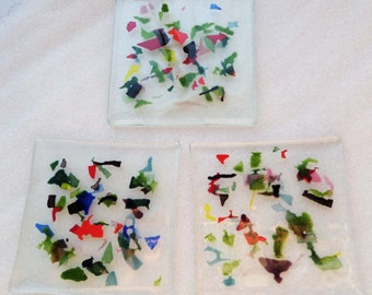 Colorful Upcycled Glass Coasters - set of 3 - IN STOCK