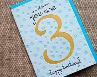 So Much To SEE, You're 3 - Happy Birthday! - 4bar card and envelope