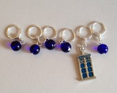 Handmade Stitch Markers - Doctor's Police Box (set of 6/up to size 11) (SM-14)