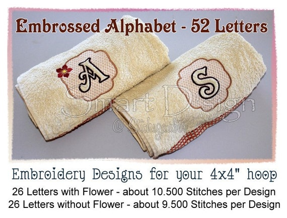Items similar to designs embossed alphabet embroidery