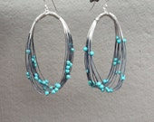 Abacus Oval Earrings with Sky Blue Turquoise
