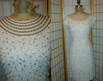 50s embroidered linen wiggle summer dress womens size large