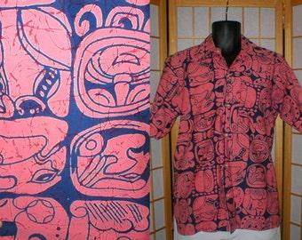 60s red / blue Mayan print camp shirt mens size medium