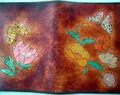 Flowers and Butterflies Brown Leather Jr Legal Pad Cover Hand Made in GA USA