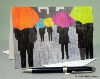 Art Quilt Note Card - Rainy Day People