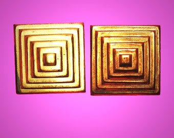 Vintage 6 Art Deco Pyramid Brass Stampings  24MM H3R