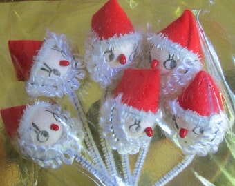 Vintage Super Cute Kitschy Santas Ornaments Elf Elves NOS